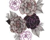 "Pink & Orange Floral Art Print 8""x10"""
