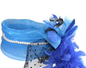 Blue Fascinator with tulle and pearls, accented with feather