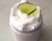 Sweet Coconut Citrus Whipped Shea Butter (Organic) Sweet Coconut Cream, Fresh Lime Zest 8 oz, Thick Lotion, Intensive Body Butter