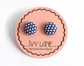Navy Blue Polka Fabric Button Earrings