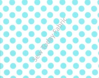 Ta Dot Aqua (Aqua dots on White) -  Michael Miller CX1492-AQUA-D (sold by the 1/2 yard)