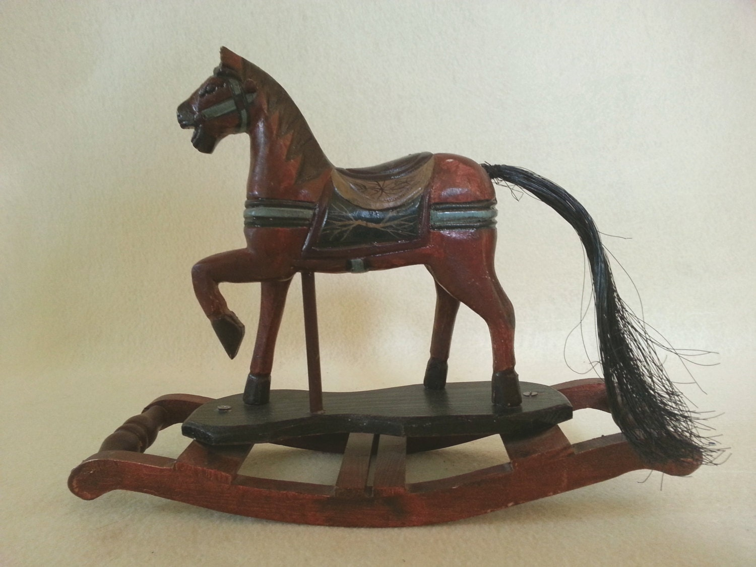 Greyhound Shipping Quote >> Vintage Wood Rocking Horse Hand Carved And Painted Country