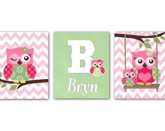 Owls Nursery Decor  -  Nursery art Set of 3 - 8X10  Prints- Baby Girl Nursery - owls -  Hot Pink  and Sage Green - Owl Decor for Girl Room