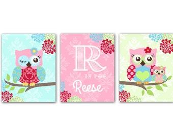 Owl Nursery Art  -  Nursery art for Baby Girl Nursery Set of 3 Prints - owls -  Pink  and Aqua Nursery Print - Owl Decor for Girl Room