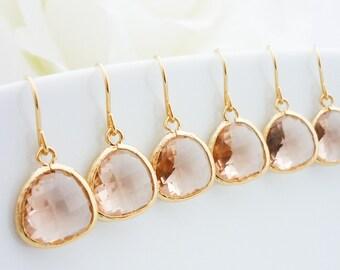 15% OFF SET of 6 Bridesmaid Gift Wedding Jewelry Bridesmaid Jewelry Bridal Jewelry Champagne Gold Drop Earrings Peach Glass Dangle Earrings