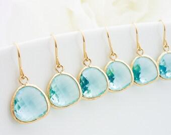 10% OFF SET of 4 Aqua Gold Drop Earrings, Bridesmaid Gift, Aqua Blue Dangle Earrings, wedding earrings, bridesmaid earrings, bridal jewlery