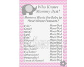 Pink and Grey Chevron Baby Shower Game, Pink Elephant Baby Shower Game, Pink Elephant Theme Baby Shower, Who Knows Mommy Best, Girl Elephant
