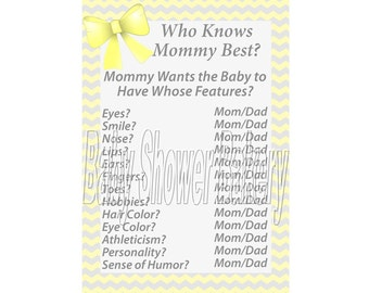 Yellow and Grey Baby Shower Game, Yellow and Grey Chevron Baby Shower Game, Who Knows Mommy Best Printable Game, Yellow and Gray Printable