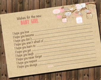 Baby Girl Shower Advice Card, Wishes for the Baby, Digital File, Printable