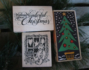 3 Christmas Rubber Stamps-Christmas Tree Stamp-Scrapbook Stamping Supplies-Christmas Bear Stamp-Rubber Stamps-Stamping Craft Supplies