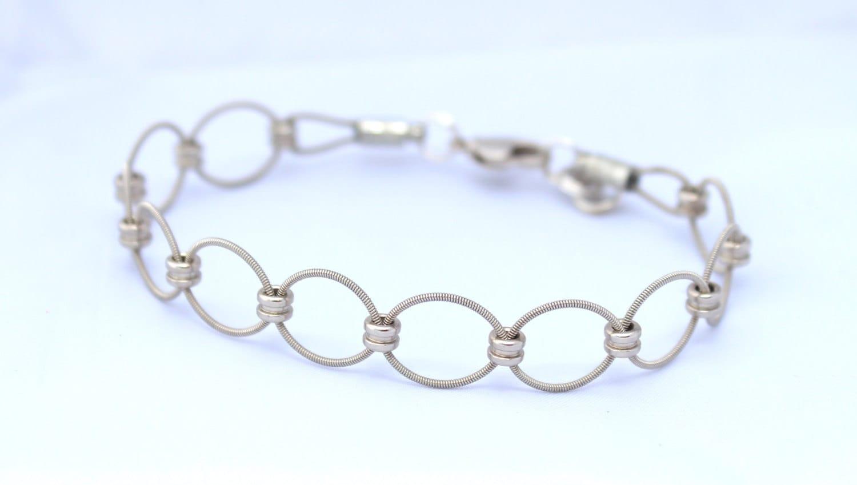 silver loop guitar string bracelet by gtrstringbracelets on etsy. Black Bedroom Furniture Sets. Home Design Ideas