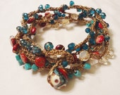 Burgundy, Turquoise, Tan, Red Crocheted Wrap Bracelet or Necklace