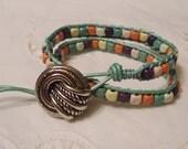 Stylish Leather and Pastel Cube Bead Wrap Bracelet