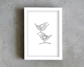 A4 art print, two birds pen drawing, motif drawing, black and white, contemporary home decoration