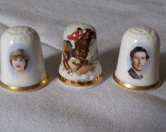 Collectible Thimbles / Bone China Made in England / Princess Di Prince Charles / English Riding Horse / collectible thimbles gift set