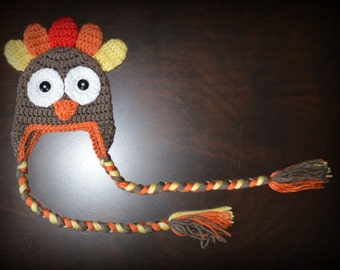 Crochet Turkey Earflap Handmade Crochet Beanie Hat Baby Photo Prop Custom Made