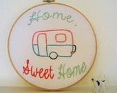 Home Sweet Home Hand Embroidered Vintage Trailer Wall Art