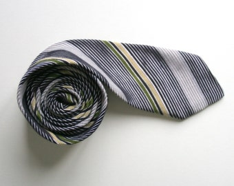 Striped skinny necktie, 80's vintage deadstock, black gray green and vanilla yellow, more available