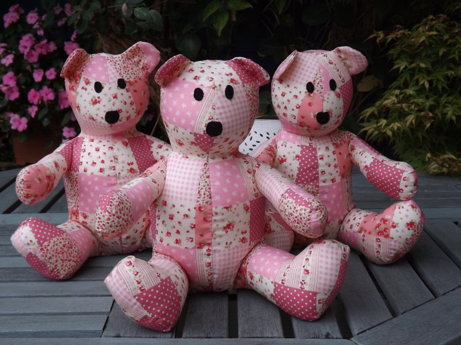Pink Patchwork Teddy Bear Handmade by ClaresQuiltsnSoftToy on Etsy