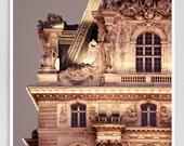 Paris photography - Louvre (by night) - Paris photo,Fine art photography,Paris decor,8x10 wall art,grey,Fine art prints,Art Posters,Under30