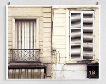 Paris photography - Old friends  - Paris facade,Paris photo,Fine art photography,windows,Paris decor,8x10,white,Fine art prints,Art Posters