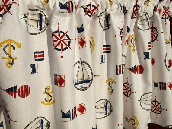 Curtain panel nautical white navy blue red yellow sea theme - Rideaux theme mer ...