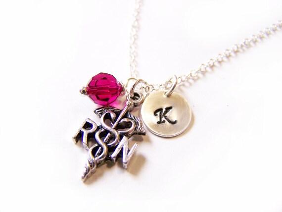 Registered Nurse RN Caduceus Stamped Initial Swarovski Crystal Birthstone Sterling Silver Necklace / Gift for Her