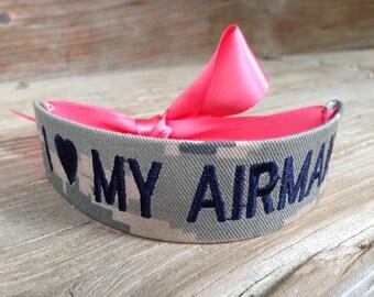 Air Force Wife / Air Force Girlfriend / Air Force Mom / Air Force Sister / I Love My Airman / Name Tape Bracelet / ABU / U.S. Air Force
