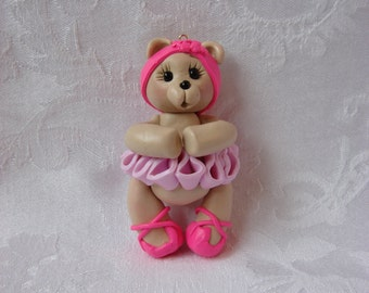 Ballerina Bear Polymer Clay Childrens Christmas Ornament, Figurine.  A Handcrafted Art Sculpture.