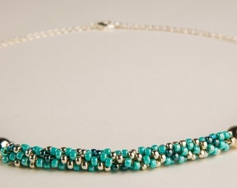 Turquoise Glass beads with Sterling Silver chain necklace