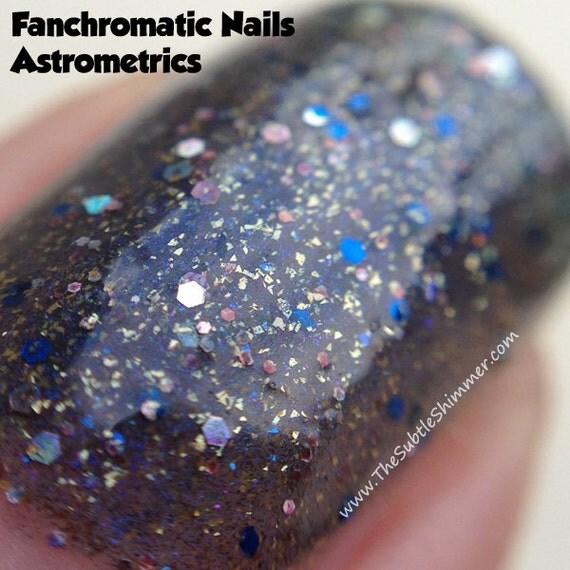 Astrometrics Nail Polish - MINI - deep dark blue with copper and holo sparkle