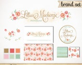Hand Drawn Brand Identity Package with Business Card / Custom Logo, Website Pattern, Watermark