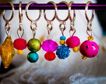 Bright, Colorful Stitch Markers (Set of 7)