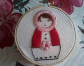 Hand Embroidered Matryoshka Russian Nesting Doll Wall Art with Hoop Frame Ready to Hang