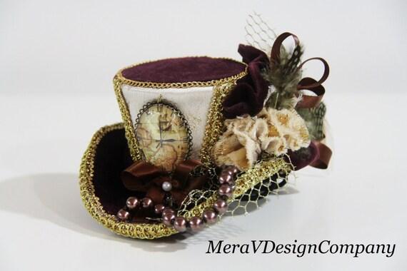 Mini Top Hat, Burgundy Velvet Gold Steampunk Hat, Victorian Vintage Hat, World Traveler, Vintage Map, Glass Cabochon, Pearls READY TO SHIP