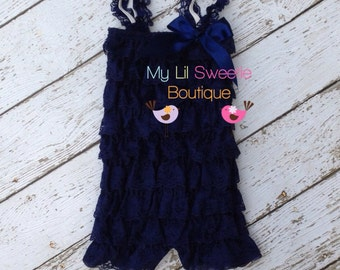 Navy vintage style lace romper, ruffle romper, baby girl outfit, infant outfit, special occasion, birthday outfit