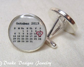 Sterling Silver Calendar Cufflinks grooms gift from bride...Personalized Cuff Links