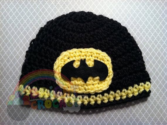 Crochet Pattern Batman Hat : Batman Super Hero Crochet Baby Hat by BrightCrochet on Etsy