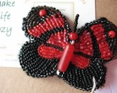 Butterfly OOAK bead embroidery on handmade felt red black seed beads