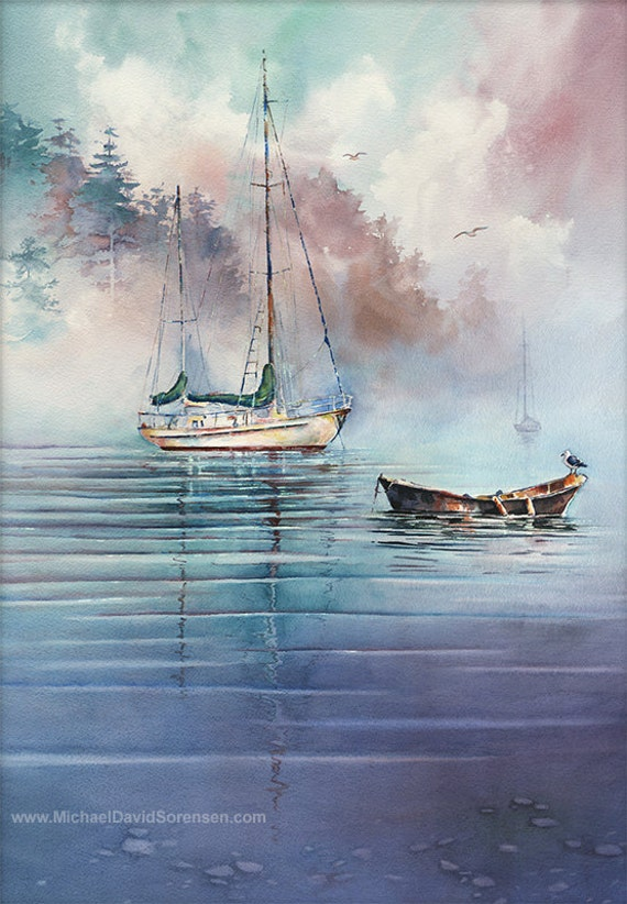 Sailboat Art. Watercolor Sailboats. In the Mist by