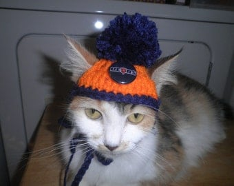 Crocheted Cat or Dog Hats Chicago Bears Football Sports Teams Pompom  X-Small and Small