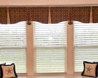 "Custom Wide Width Window Valance MAISON Hidden Rod Pocket® Valance 99""- 144"" window, Created using your fabrics, my LABOR and lining"