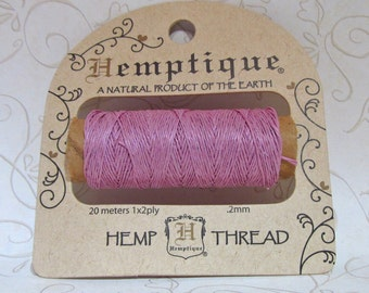 Hemp Thread, Light Pink, 0.2mm Hemp Macrame Thread, Colored Hemp, Beading String, Micro Macrame Cord, Jewelry String