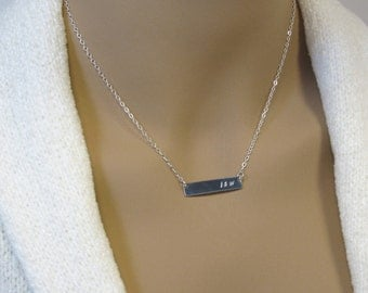 Silver Bar Name Necklace, Layered Silver Initials Necklace,  Personalized Necklace, Necklace for Women,  Sterling Silver Chain