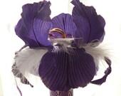 Purple ring pillow, Wedding ring pillow, Wedding ring bearer pillow, Satin ring pillow with flower, Different pillow.