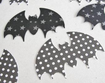 Halloween Decorations, Paper Bats, Black and White Bat Cut Outs, Star and Polka Dot Bats, Halloween Die Cut, Bat Embellishment Set of 16