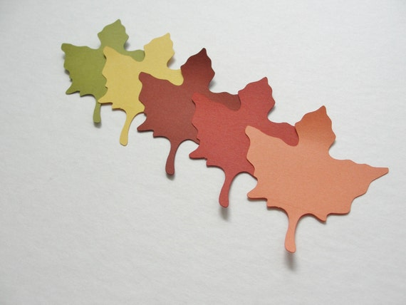 SMALL Fall Wedding Autumn Fall Paper Leaf Leaves Paper Cut Outs Cutouts Scrapbook Embellishments Tags Decorations  Set of 50