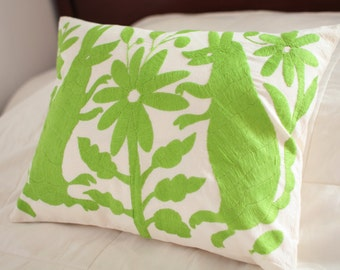 lime green otomi embroidered pillow cover