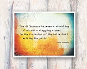 A Stumbling Block Inspirational Quote Print, 5x7, Typography, Fine Art, Texture, Quote, Shabby Chic, Rustic, Wall Art, Decoration, Gift