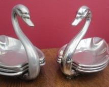 Vintage English SEBA Silver Plated Swan Ashtrays